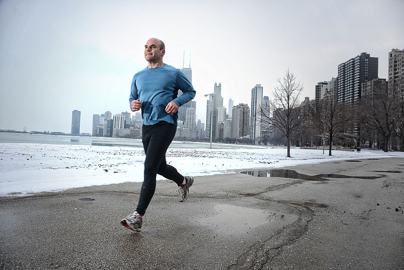 A man running in Chicago