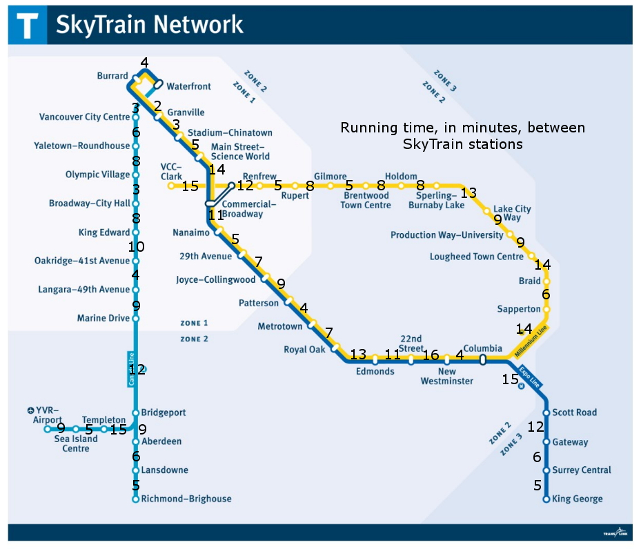 Skytrain map with running time between stations